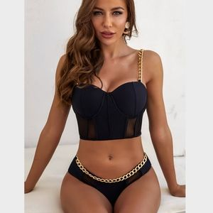 Chain and Mesh Detailed Black Push Up Swimsuit